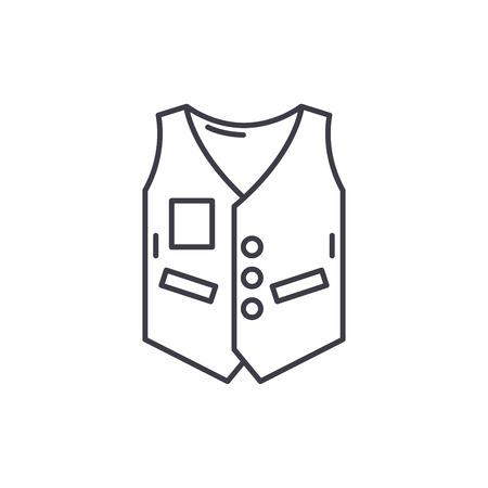 Work vest line icon concept. Work vest vector linear illustration, sign, symbol