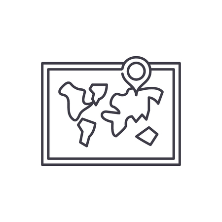 World map line icon concept. World map vector linear illustration, sign, symbol