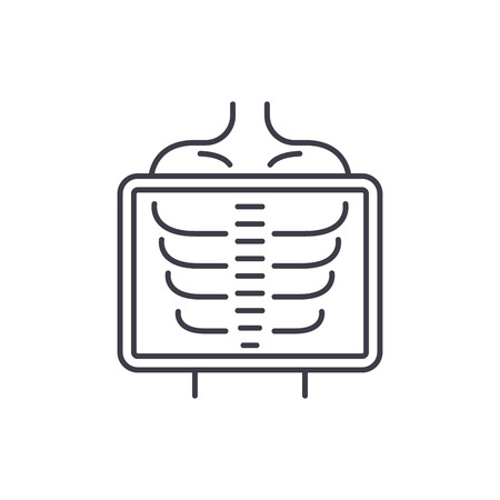 X ray line icon concept. X ray vector linear illustration, sign, symbol  イラスト・ベクター素材