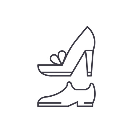 Wedding shoes line icon concept. Wedding shoes vector linear illustration, sign, symbol