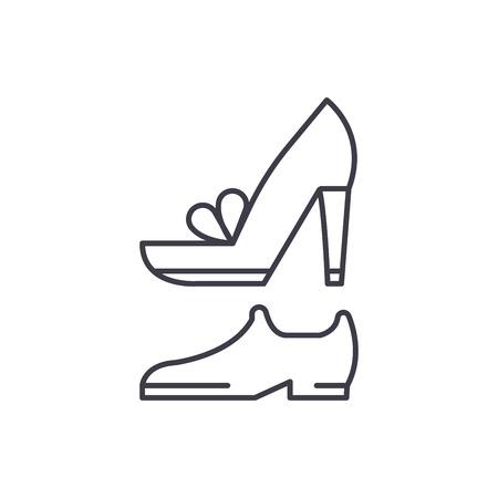 Wedding shoes line icon concept. Wedding shoes vector linear illustration, sign, symbol Standard-Bild - 112694820