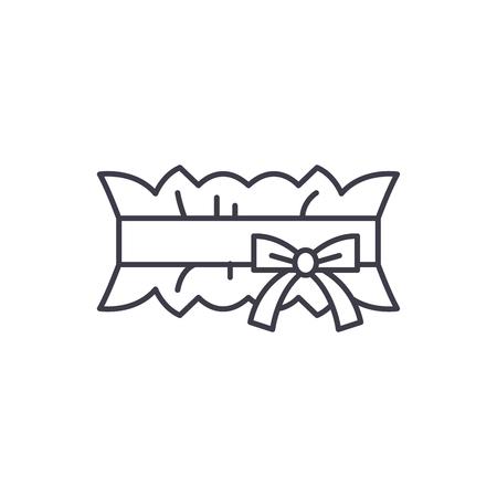 Wedding garter line icon concept. Wedding garter vector linear illustration, sign, symbol Illustration