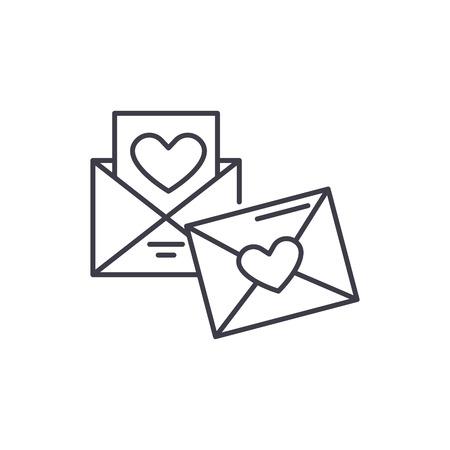 Wedding invitation line icon concept. Wedding invitation vector linear illustration, sign, symbol