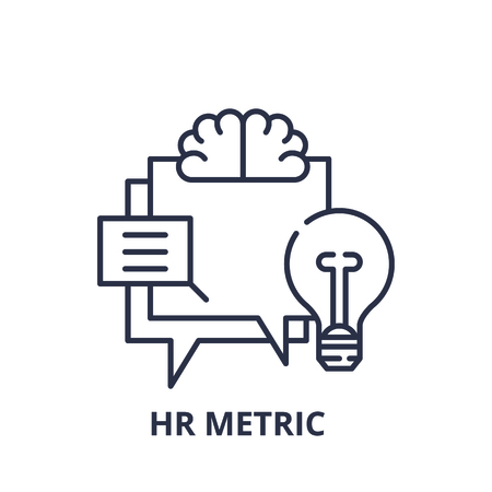 Hr metric line icon concept. Hr metric vector linear illustration, sign, symbol