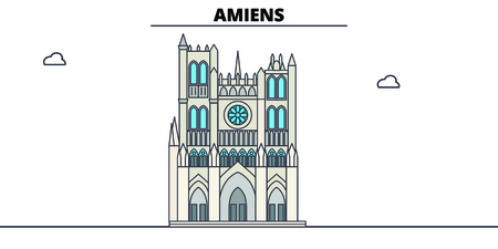 Amiens Cathedral  line travel landmark, skyline vector design. Amiens Cathedral  linear illustration.