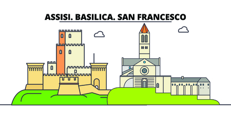Assisi. Basilica. San Francesco - Other Franciscan Sites  line travel landmark, skyline vector design. Assisi. Basilica. San Francesco - Other Franciscan Sites  linear illustration.  イラスト・ベクター素材