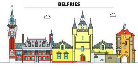Belfries Of Belgium And France  line travel landmark, skyline vector design. Belfries Of Belgium And France  linear illustration.  イラスト・ベクター素材