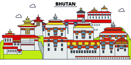 Bhutan line skyline vector illustration. Bhutan linear cityscape with famous landmarks, city sights, vector, design landscape.