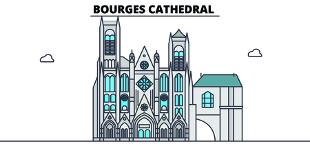 Bourges Cathedral  line travel landmark, skyline vector design. Bourges Cathedral  linear illustration.
