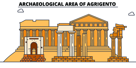 Archaeological Area Of Agrigento  line travel landmark, skyline vector design. Archaeological Area Of Agrigento  linear illustration. Banco de Imagens - 112693893