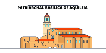 Archaeological Area -Patriarchal Basilica Of Aquileia  line travel landmark, skyline vector design. Archaeological Area -Patriarchal Basilica Of Aquileia  linear illustration. Stock fotó - 112693934