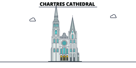 Chartres Cathedral  line travel landmark, skyline vector design. Chartres Cathedral  linear illustration.