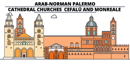 Arab-Norman Palermo - Cathedral Churches - CefalU And Monreale  line travel landmark, skyline vector design. Arab-Norman Palermo - Cathedral Churches - CefalU And Monreale  linear illustration. Ilustração
