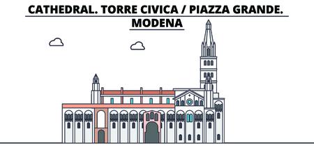 Cathedral. Torre Civica - Piazza Grande. Modena line travel landmark, skyline vector design. Cathedral. Torre Civica - Piazza Grande. Modena linear illustration.