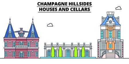 Coteaux de Champagne - point de repère de voyage de ligne de maisons et de caves, conception de vecteur d'horizon. Coteaux de Champagne - Illustration linéaire de maisons et de caves.