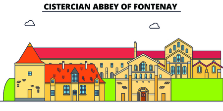 Cistercian Abbey Of Fontenay  line travel landmark, skyline vector design. Cistercian Abbey Of Fontenay  linear illustration. 스톡 콘텐츠 - 112694224