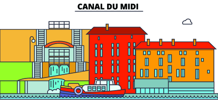 Canal Du Midi  line travel landmark, skyline vector design. Canal Du Midi  linear illustration.