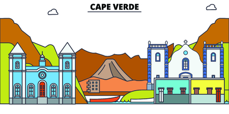 Cape Verde line skyline vector illustration. Cape Verde linear cityscape with famous landmarks, city sights, vector, design landscape. Illusztráció