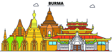 Burma line skyline vector illustration. Burma linear cityscape with famous landmarks, city sights, vector, design landscape.