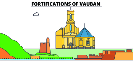 Fortifications Of Vauban  line travel landmark, skyline vector design. Fortifications Of Vauban  linear illustration.