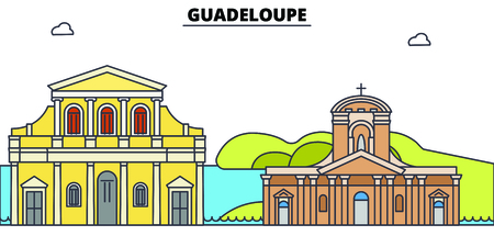Guadeloupe line skyline vector illustration. Guadeloupe linear cityscape with famous landmarks, city sights, vector, design landscape. Иллюстрация