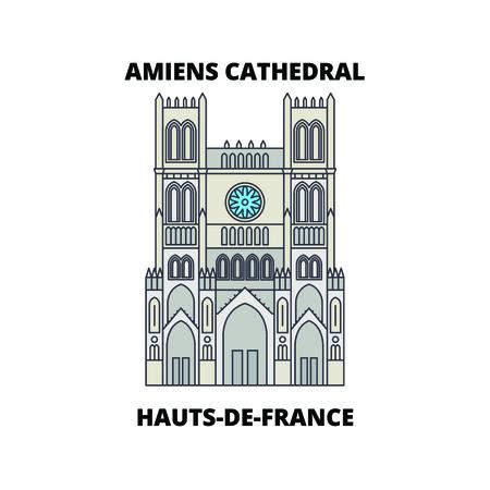 Hauts-De-France - Amiens Cathedral  line travel landmark, skyline vector design. Hauts-De-France - Amiens Cathedral  linear illustration.