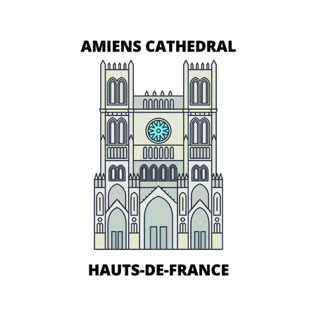 Hauts-De-France - Amiens Cathedral  line travel landmark, skyline vector design. Hauts-De-France - Amiens Cathedral  linear illustration.