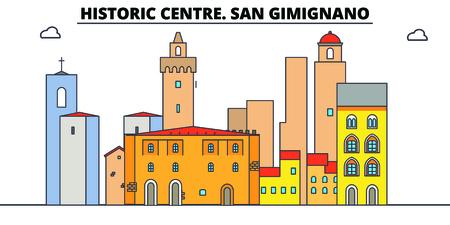 Historic Centre. San Gimignano line travel landmark, skyline vector design. Historic Centre. San Gimignano linear illustration.
