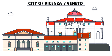 City Of Vicenza - Veneto  line travel landmark, skyline vector design. City Of Vicenza - Veneto  linear illustration.