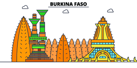 Burkina Faso line skyline vector illustration. Burkina Faso linear cityscape with famous landmarks, city sights, vector, design landscape.