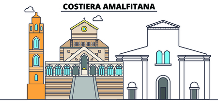 Costiera Amalfitana line travel landmark, skyline vector design. Costiera Amalfitana linear illustration.
