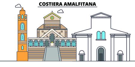 Costiera Amalfitana line travel landmark, skyline vector design. Costiera Amalfitana linear illustration.