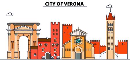 City Of Verona  line travel landmark, skyline vector design. City Of Verona  linear illustration.