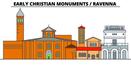 Early Christian Monuments - Ravenna  line travel landmark, skyline vector design. Early Christian Monuments - Ravenna  linear illustration. Иллюстрация