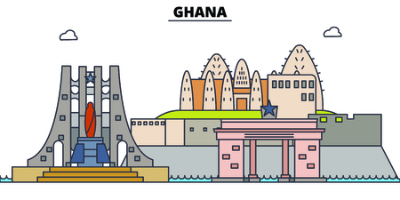 Ghana line skyline vector illustration. Ghana linear cityscape with famous landmarks, city sights, vector, design landscape. 일러스트