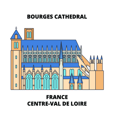France, Centre-Val De Loire - Bourges Cathedral line travel landmark, skyline vector design. France, Centre-Val De Loire - Bourges Cathedral linear illustration. Banco de Imagens - 112693087