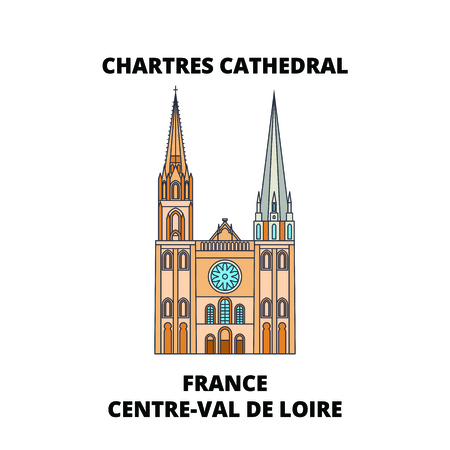 France, Centre-Val De Loire - Chartres Cathedral line travel landmark, skyline vector design. France, Centre-Val De Loire - Chartres Cathedral linear illustration.