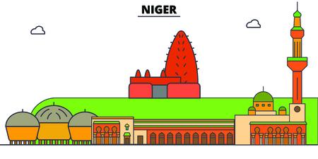 Niger line skyline vector illustration. Niger linear cityscape with famous landmarks, city sights, vector, design landscape. Ilustração