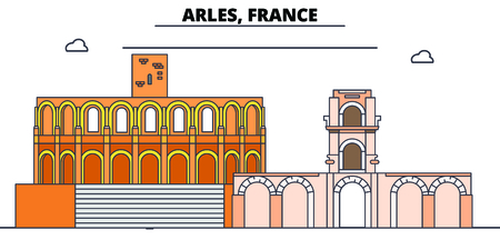 Arles, Roman And Romanesque Monuments line travel landmark, skyline vector design. Arles, Roman And Romanesque Monuments linear illustration. 스톡 콘텐츠 - 112693142