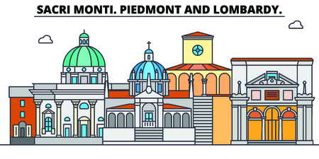 Sacri Monti. Piedmont And Lombardy line travel landmark, skyline vector design. Sacri Monti. Piedmont And Lombardy linear illustration.