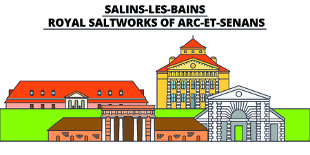 Salins-Les-Bains - Royal Saltworks Of Arc-Et-Senans line travel landmark, skyline vector design. Salins-Les-Bains - Royal Saltworks Of Arc-Et-Senans linear illustration.