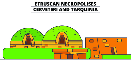Etruscan Necropolises - Cerveteri And Tarquinia  line travel landmark, skyline vector design. Etruscan Necropolises - Cerveteri And Tarquinia  linear illustration. Çizim