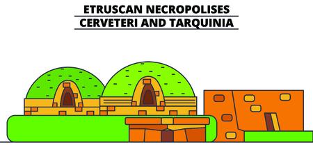 Etruscan Necropolises - Cerveteri And Tarquinia  line travel landmark, skyline vector design. Etruscan Necropolises - Cerveteri And Tarquinia  linear illustration. Illustration