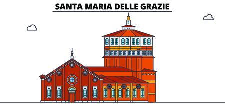 Santa Maria Delle Grazie line travel landmark, skyline vector design. Santa Maria Delle Grazie linear illustration.