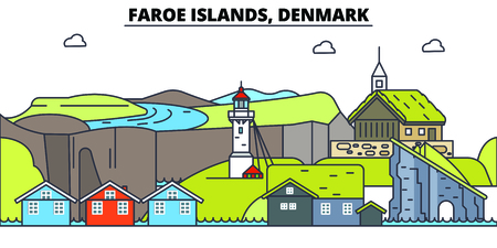 Faroe Islands line skyline vector illustration. Faroe Islands linear cityscape with famous landmarks, city sights, vector, design landscape.