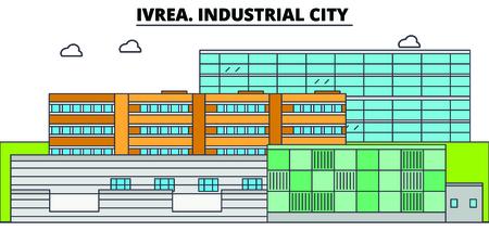 Ivrea. Industrial City  line travel landmark, skyline vector design. Ivrea. Industrial City  linear illustration.