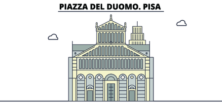 Piazza Del Duomo. Pisa  line travel landmark, skyline vector design. Piazza Del Duomo. Pisa  linear illustration. 스톡 콘텐츠 - 112692378