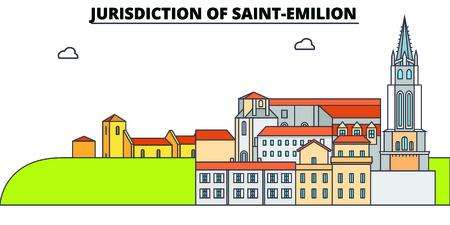 Jurisdiction Of Saint-Emilion  line travel landmark, skyline vector design. Jurisdiction Of Saint-Emilion  linear illustration.