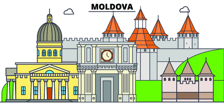 Moldova line skyline vector illustration. Moldova linear cityscape with famous landmarks, city sights, vector, design landscape. Illustration