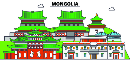Mongolia line skyline vector illustration. Mongolia linear cityscape with famous landmarks, city sights, vector, design landscape. Foto de archivo - 127380033